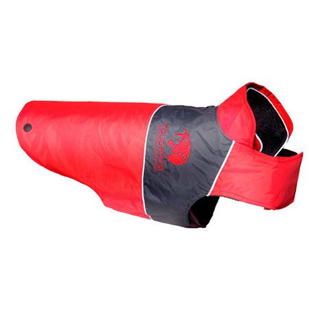 The Pet Life Touchdog Lightening-Shield Waterproof 2-in-1 Convertible Dog Jacket w/ Blackshark technology, One Size , Red