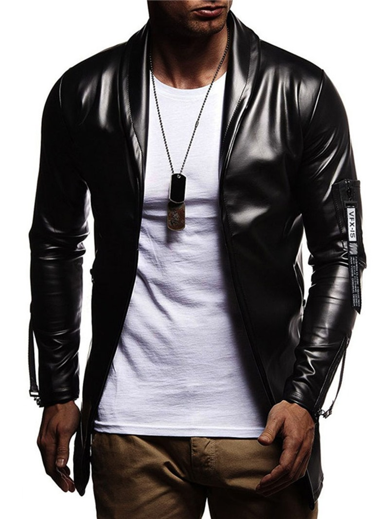 Ericdress Plain Color Lapel Casual Slim Style Mens Leather Jacket