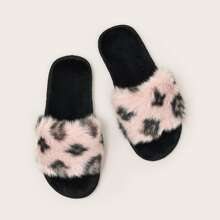 Leopard Wide Fit Fluffy Slippers