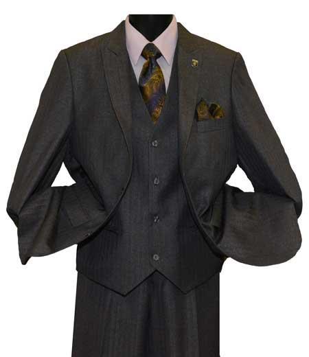Men's Charcoal 2 Button Single Breasted Peak Lapel Vested Vent Suit