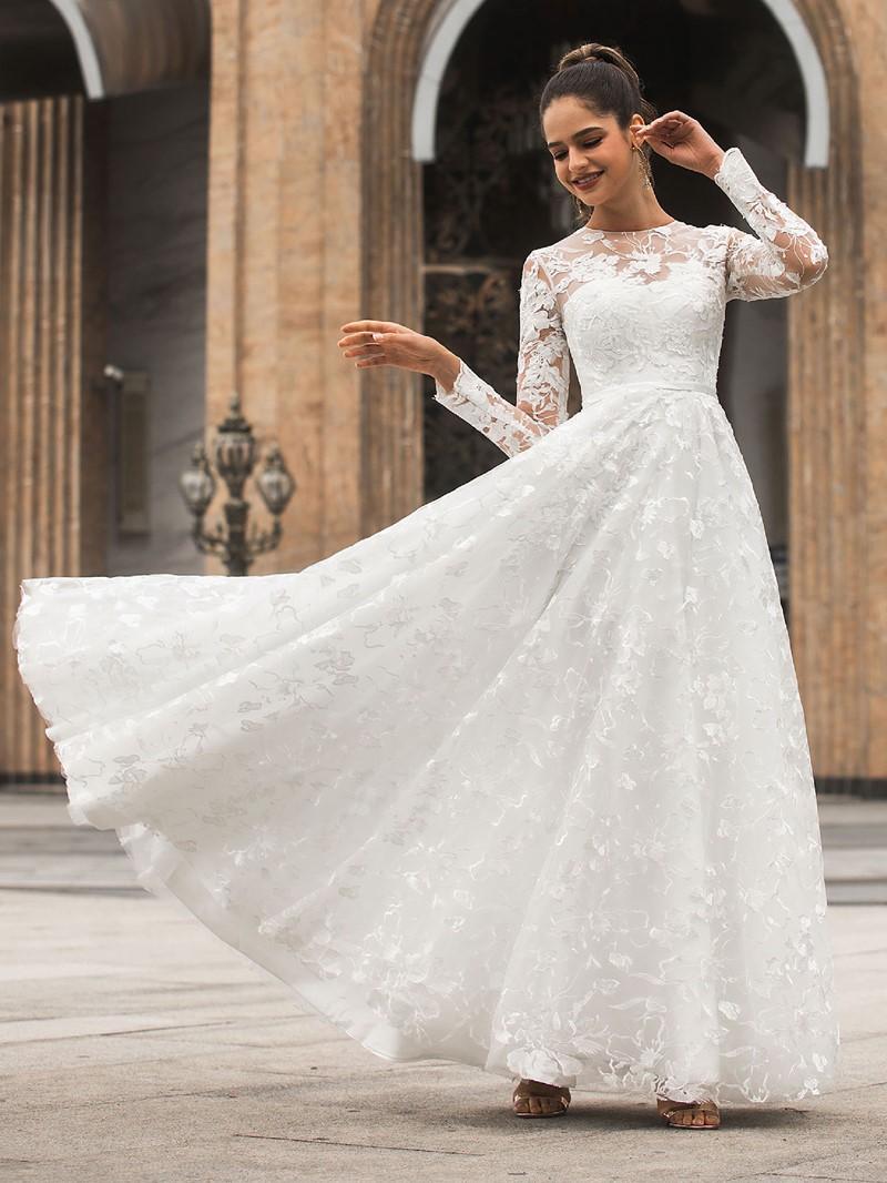 Ericdress Button Jewel A-Line Long Sleeves Church Wedding Dress 2020