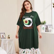 Nachtkleid mit Avocado und Buchstaben Grafik und Schosschen