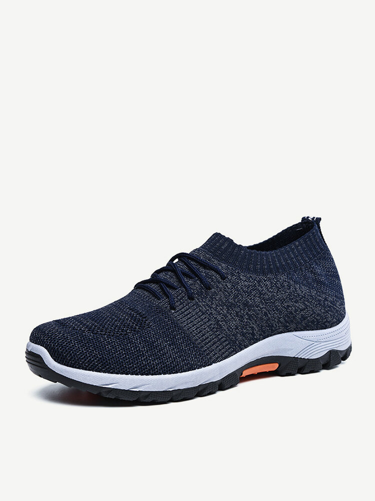 Men Knitted Fabric Breathable Non Slip Sport Casual Running Shoes