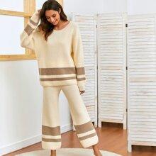 Pullover mit sehr tief angesetzter Schulterpartie und Farbblock & Hose Set