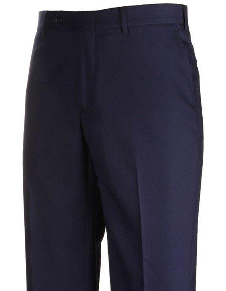 Mens Stylish Flat-Front Navy Atticus Classic Fit Casual Pant