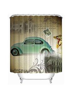 Classic Fashioned Blue Car Print 3D Bathroom Shower Curtain
