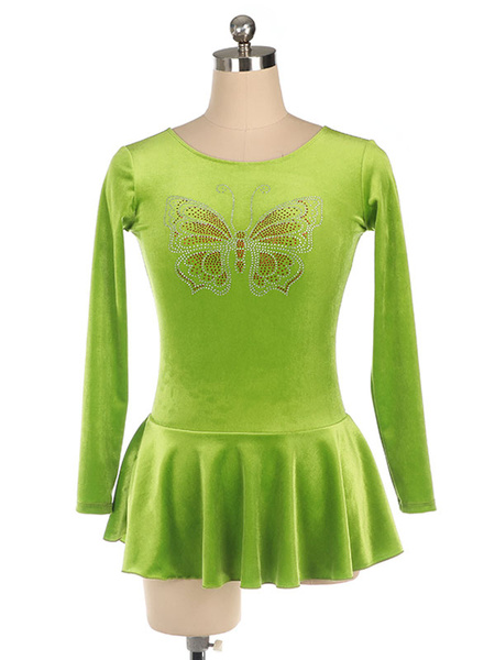 Milanoo Skating Dress Long Sleeves Grass Green Korean Velvet Dance Costumes