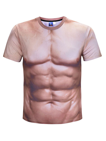 Milanoo Men 3D Print Muscle Summer T-Shirt Plus Size Carnival Short Sleeve T Shirt