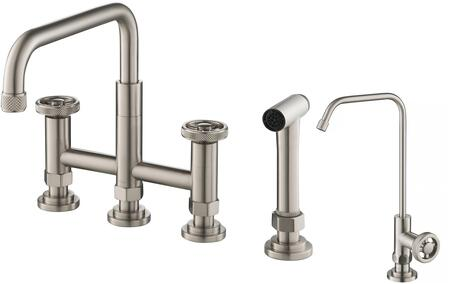 KPF3125FF101SFS KRAUS Urbix    Industrial Bridge Kitchen Faucet and Water Filter Faucet Combo in Spot Free Stainless
