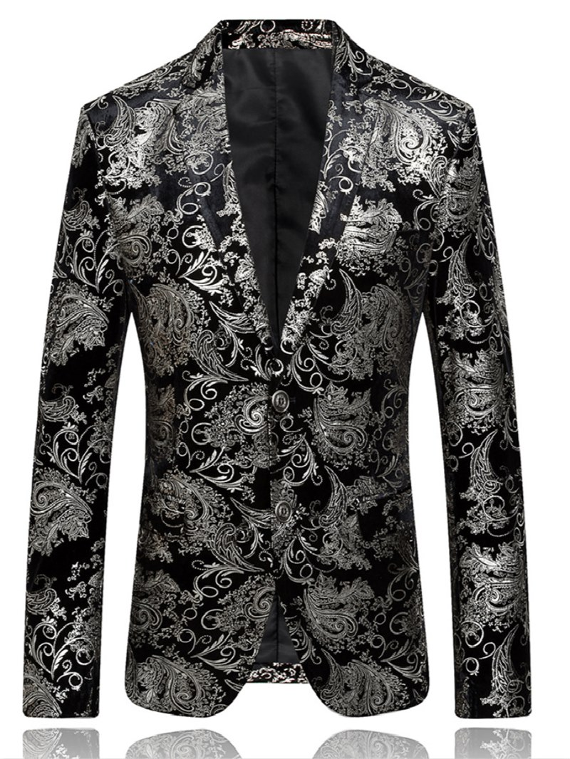 Ericdress Printed Single-Breasted Color Block Small Size Mens Casual Blazer
