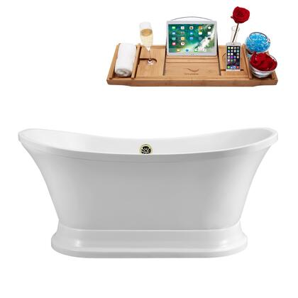 N201BNK 68 Soaking Freestanding Tub and Tray With External Drain - Glossy