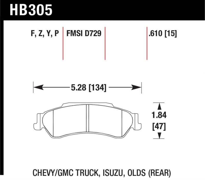 Hawk Performance HB305Y.610 Disc Brake Pad Rear