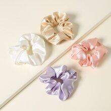 Sheeny Solid Scrunchie Set - 4pcs