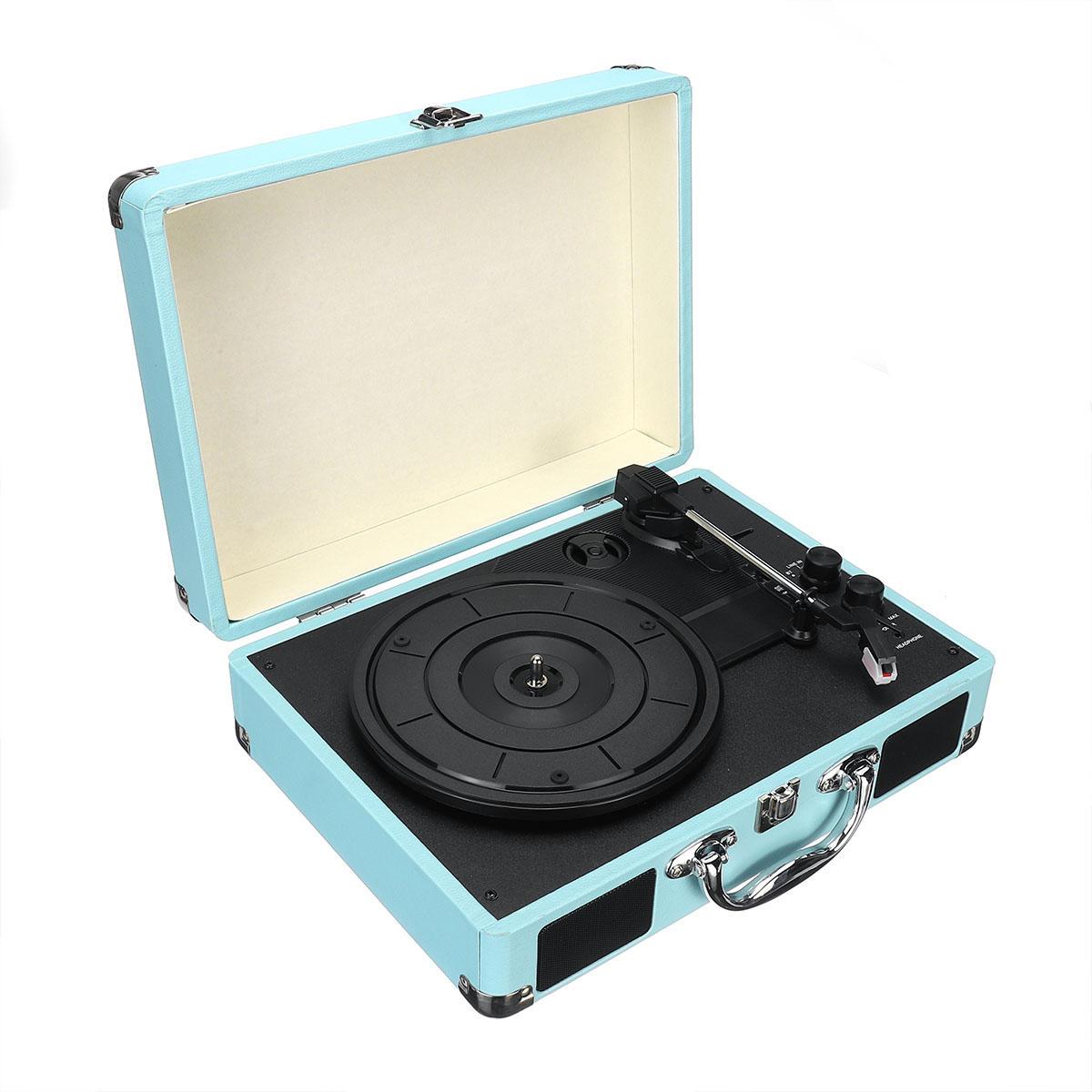 B32603 bluetooth Wireless 3 Speed Vinyl Record Player Turntable Retro 2 Speakers Case