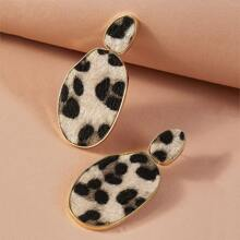 1 Paar Leopardenmuster geometrische Ohrringe