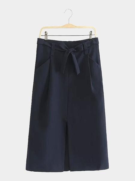 Yoins Tie Waist Midi Skirt with Pockets