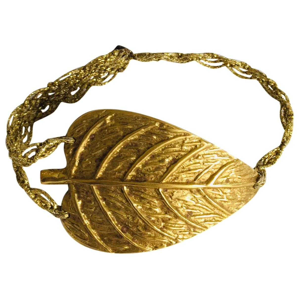 Non Signe / Unsigned Motifs Floraux Armband in  Gold Metall