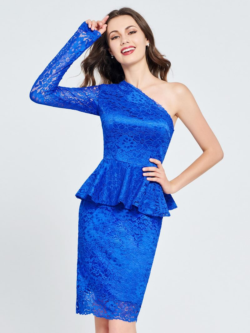 Ericdress One Shoulder Lace Knee Length Homecoming Dress