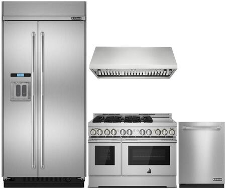 4 Piece Kitchen Appliances Package with JS48PPDUDE 48