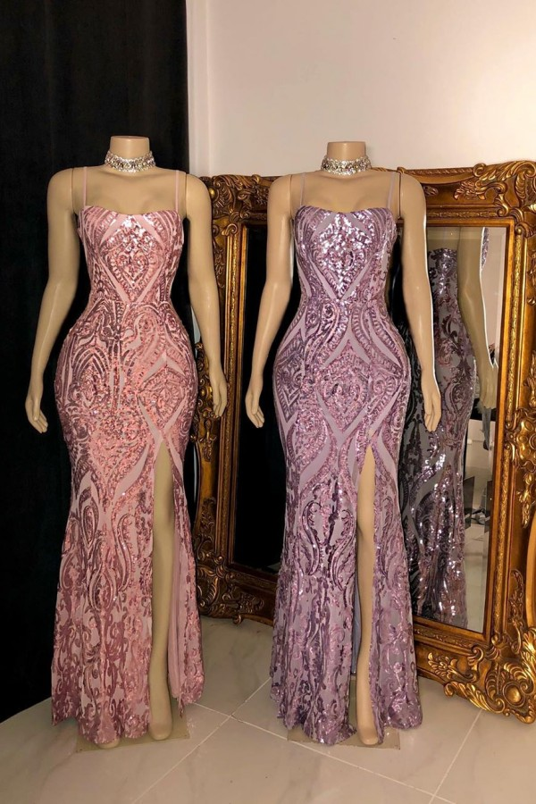 Correas de espagueti glamorosas Lentejuelas con aberturas delanteras Vestidos de fiesta de sirena
