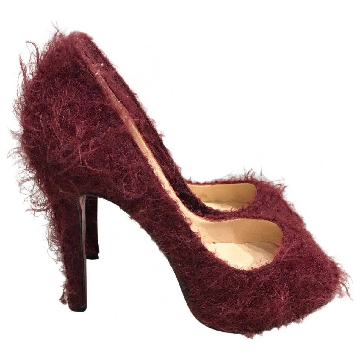 Christian Louboutin - Escarpins Very Prive pour femme en fourrure synthetique - bordeaux