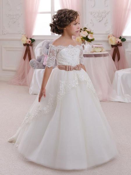 Milanoo Flower Girl Dresses Bateau Neck Lace Half Sleeves Ankle Length Princess Silhouette Bows Kids Formal Pageant Dresses