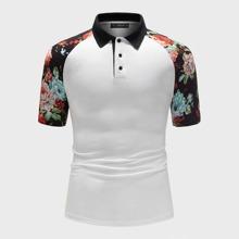 Guys Contrast Collar Floral Raglan Sleeve Polo Shirt
