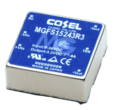 Cosel 13.2W Isolated DC-DC Converter Through Hole, Voltage in 9 → 36 V dc, Voltage out 3.3V dc