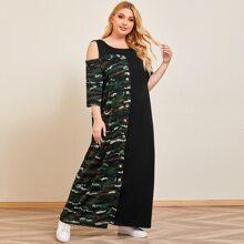 Schulterfreies T-Shirt Kleid mit Camo Muster