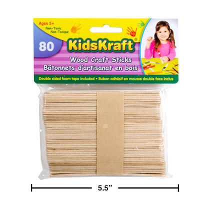 Natural Wood Popsicle Craft Sticks for DIY Crafts Projects Creative Designs, 80 Pieces
