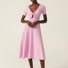 VISCOSE TEXTURED KNOT SWEATER DRESS