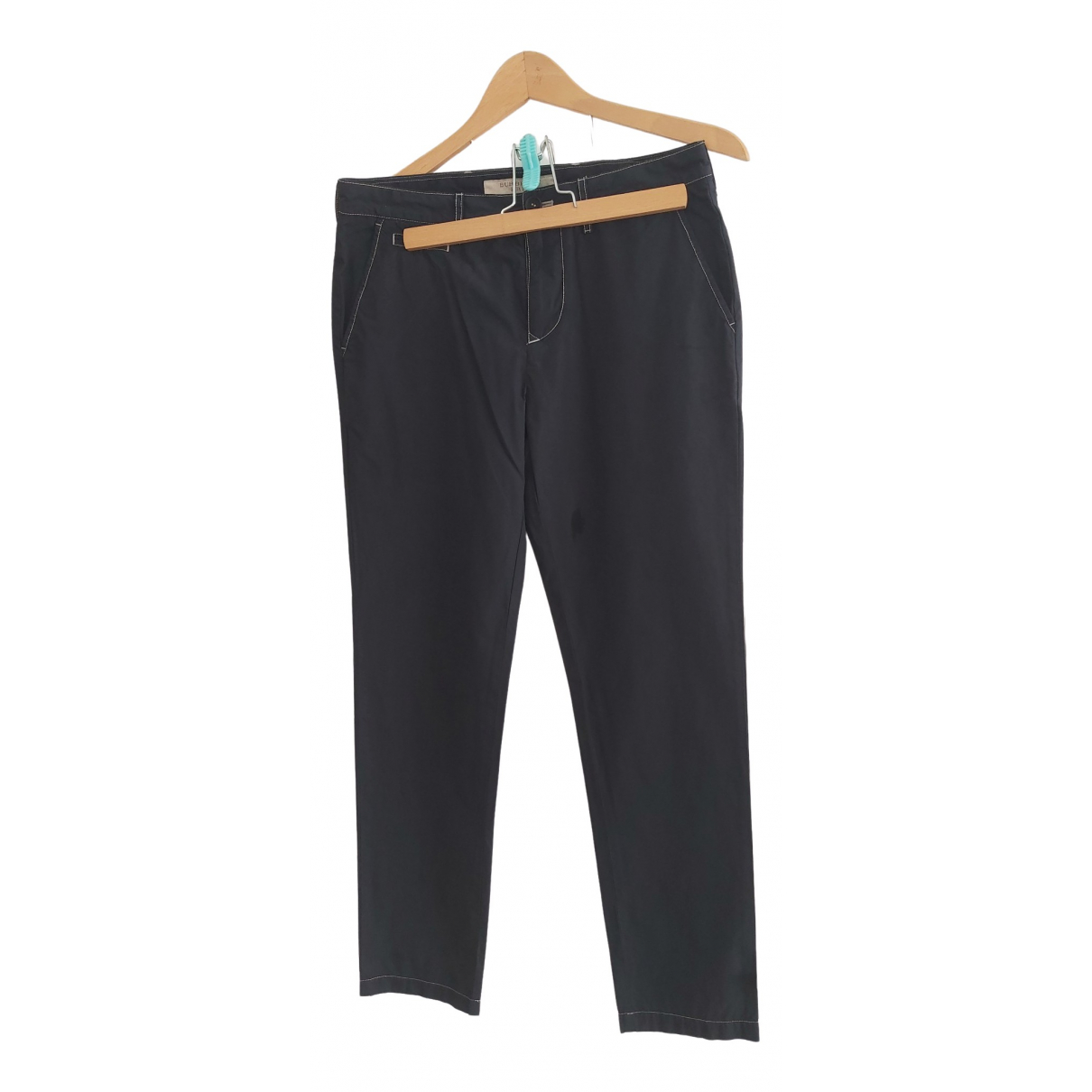 Burberry \N Black Cotton Trousers for Women 36 FR