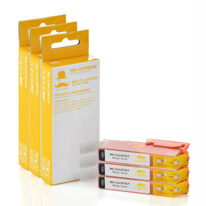 Compatible Canon CLI-251Y XL Yellow Ink Cartridge (6451B001) by Moustache, 3 pack - High Yield Version of Canon PGI-251 Yellow Ink Tank