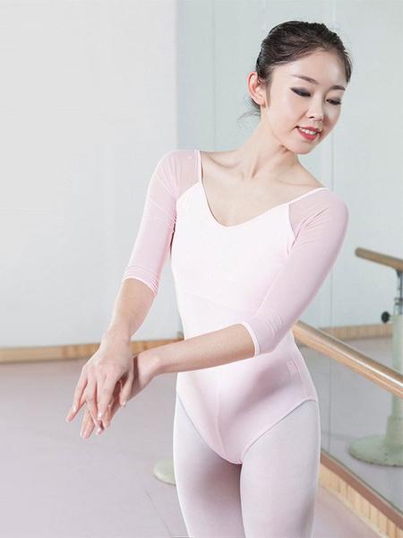 Milanoo Pink Ballerina Costumes Women's V Neck Half Sleeve Ballet Leotards