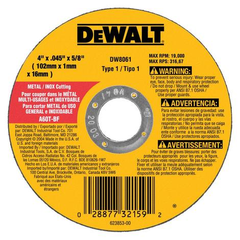 DeWalt 4-in x 0.045-in x 5/8-in Metal and Stainless Cutting