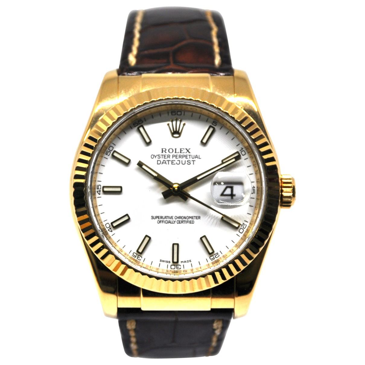 Rolex - Montre Datejust 36mm pour homme en or jaune