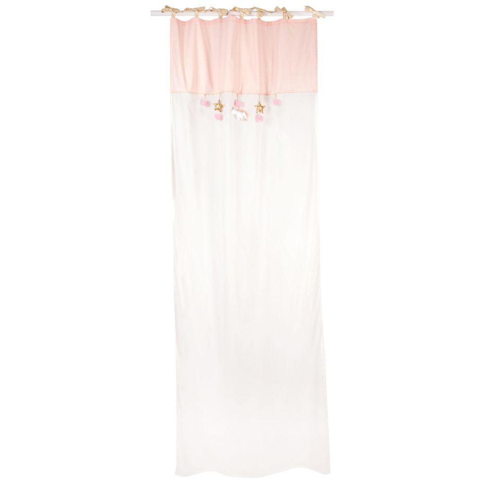 Baumwollvorhang mit Bindeschleifen, weiss, 1 Vorhang 110 x 250
