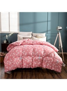 White Small Burgeon Pattern Simple Style Brick Red Feather Fabric Winter Quilt