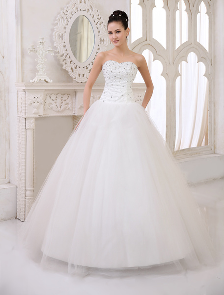 Milanoo Classic Floor-Length Ivory Brides Wedding Dress with Ball Gown Sweetheart Neck Crystal Tulle