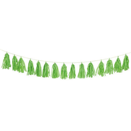 Party Tissue Tassel Garland Tissue Paper Banner Decorations 9 ft - Lime Green