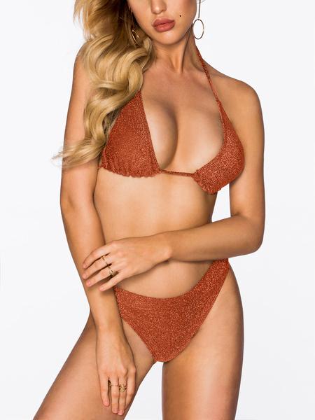 Yoins Orange Halter V-neck Tie-up Design Bikini