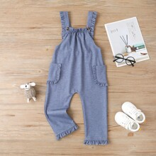 Toddler Girls Frilled Pockets Overall Jumpsuit