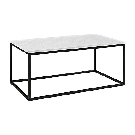 Mixed Material Coffee Table, One Size , White