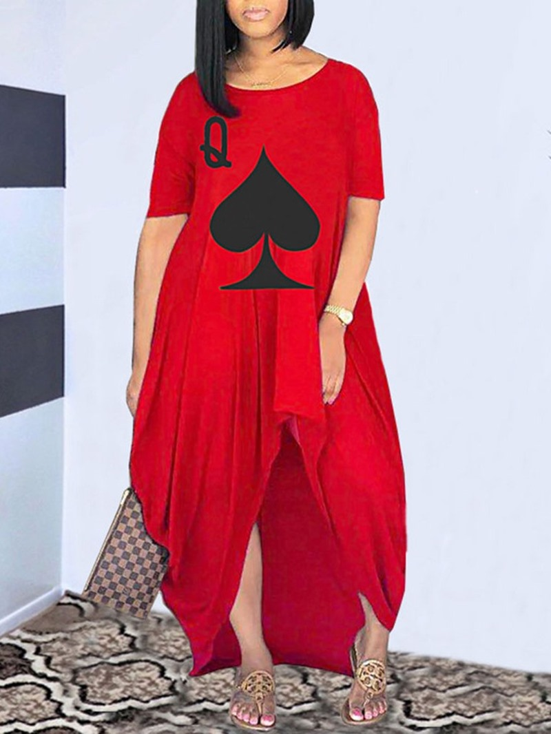 Ericdress Short Sleeve Round Neck Asymmetric Summer Asymmetrical Dress