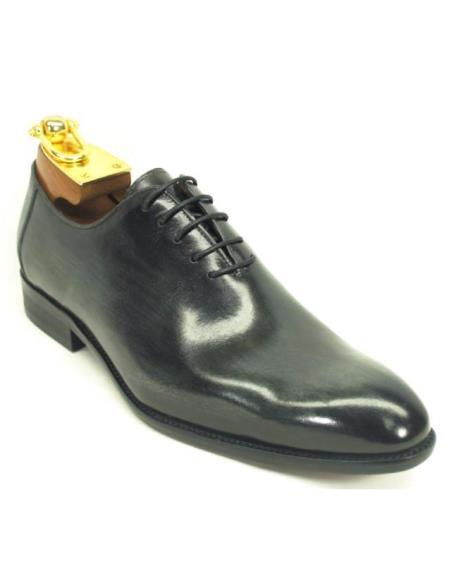 Carrucci Black Men's Genuine Calfskin Leather Lace Up Oxford Shoes