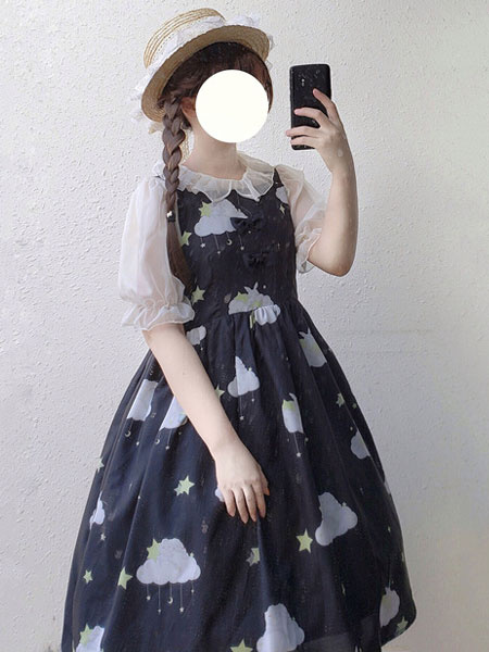 Milanoo Classic Lolita JSK Bow Cloud Print Pleated Lolita Jumper Skirt