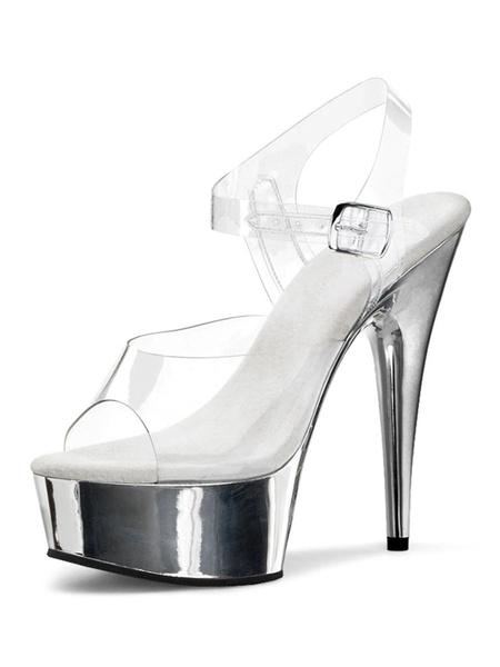 Milanoo High Heel Sexy Sandals Blond PU Leather Peep Toe Platform Sexy Sandals