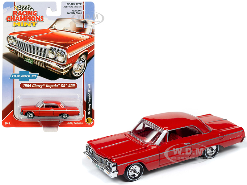 1964 Chevrolet Impala SS 409 Hardtop Riverside Red with Red Interior 1/64 Diecast Model Car by Racing Champions