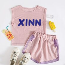 Toddler Girls Letter Graphic Tank Top & Shorts