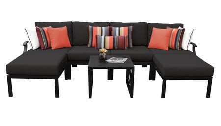 MADISON-07a-BLACK Kathy Ireland Homes and Gardens Madison Ave. 7 Piece Aluminum Patio Set 07a with 1 Set of Snow and 1 Set of Onyx
